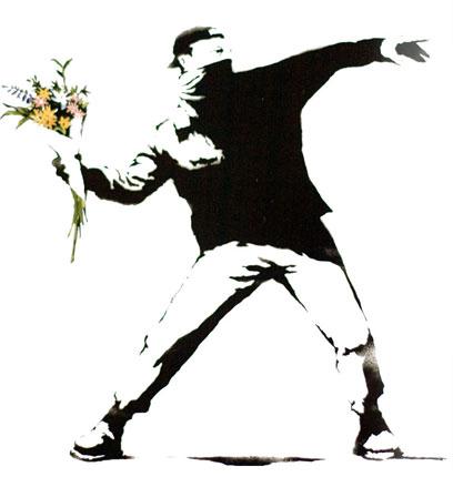 Un dibujo que representa un manifestante callejero en el acto de arrojar un ramo de flores contra algo o alguien fuera del cuadro